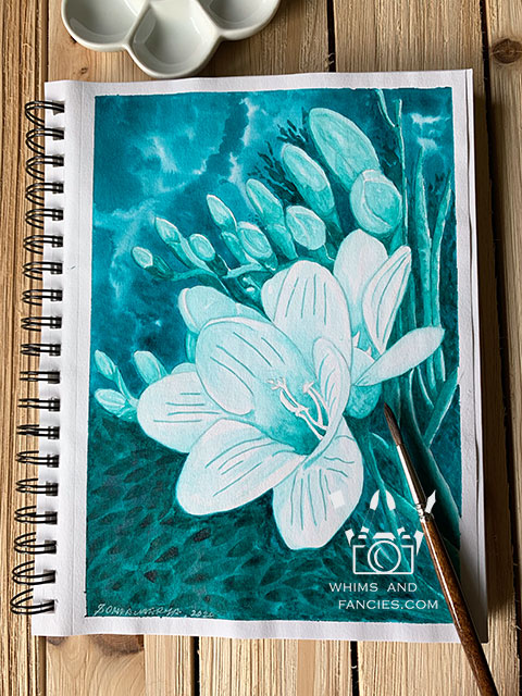 Flowers Of The Deep Sea Floral Art Print Marabu Aqua Ink Review | whimsandfancies.com