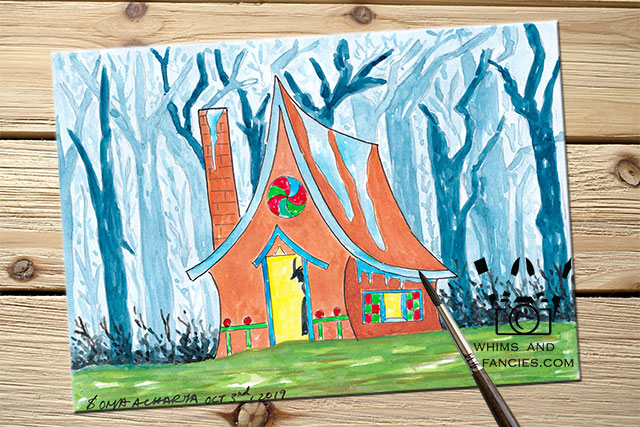 Fairy Tale Gingerbread House Watercolour Painting | Shop Whims And Fancies