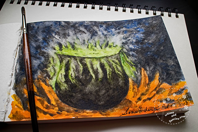 Witch Cauldron Watercolour Sennelier | Whims And Fancies