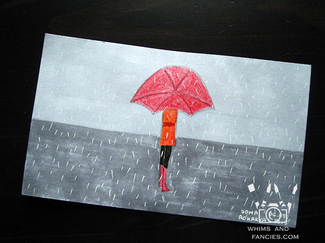 Walking in Rain with Red Umbrella Painting | Whims And Fancies