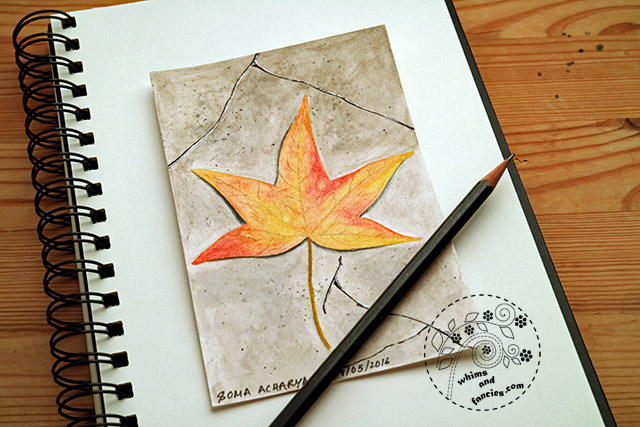 Leaf On Asphalt With Neocolour II | Whims And Fancies