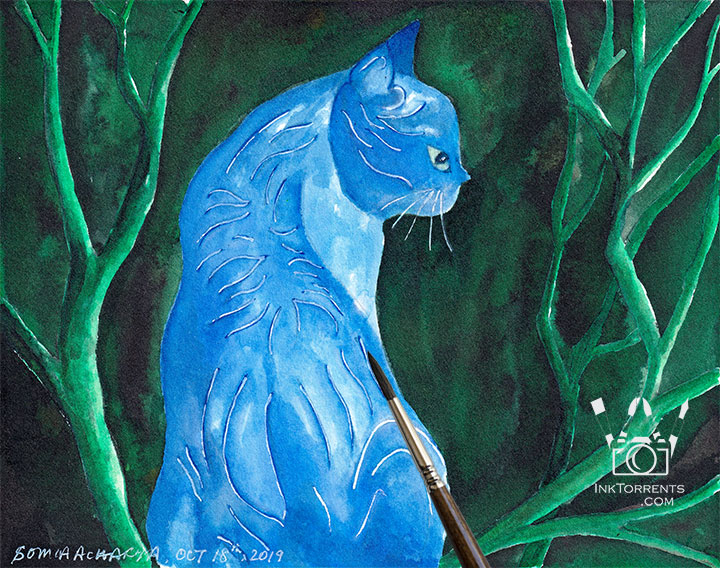 Midnight Cat fantasy story art print InkTorrents Graphics Soma Acharya