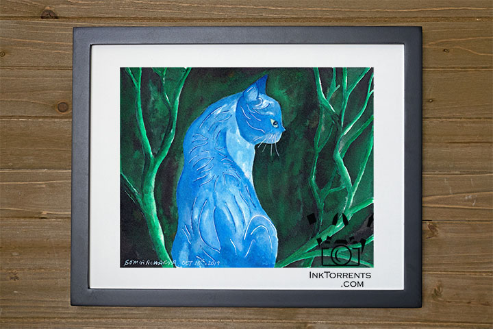 Midnight Cat fantasy story art print InkTorrents Graphics Soma Acharya