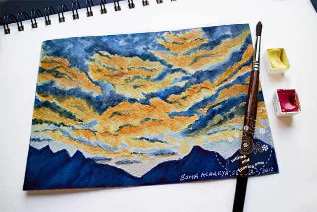 Clearning Storm Sunrise Watercolour / Stormy Sky Sunrise Watercolor | Whims And Fancies