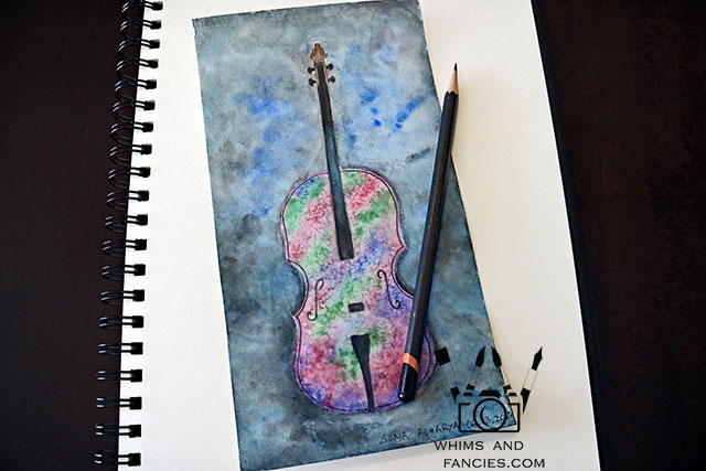 Cello Watercolour Sketch | Whims And Fancies