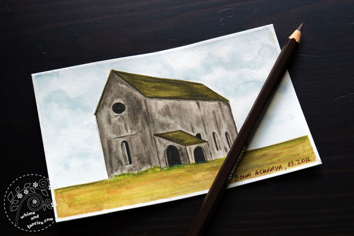 Stone House Painting With Inktense Pencils | Whims And Fancies