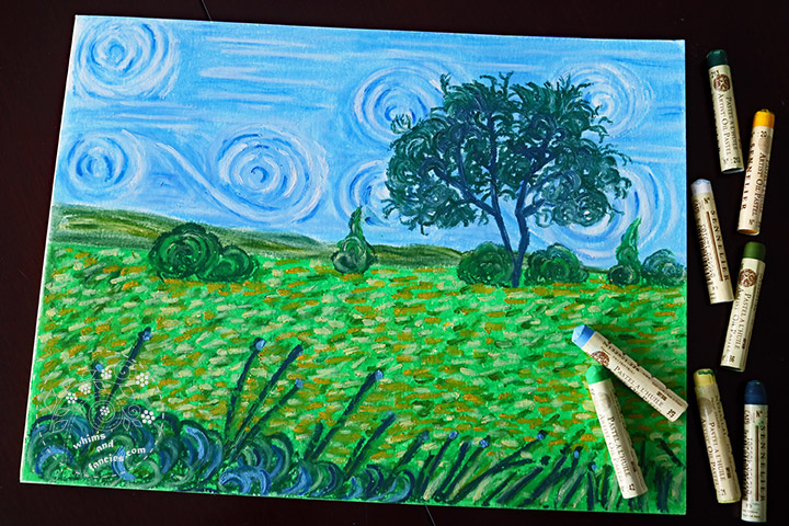 Van Gogh style Field Of Wildflower Oil Pastel Painting with Sennelier Oil Pastel | Whims And Fancies