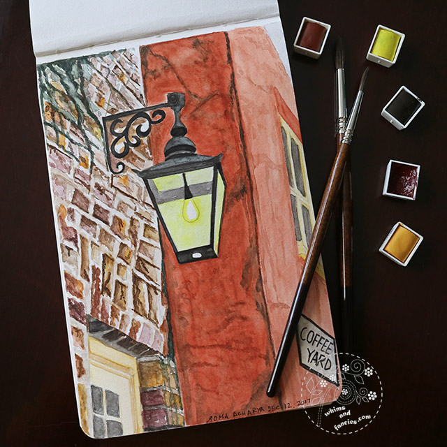 Old York street light with Sennelier watercolour | Whims And Fancies