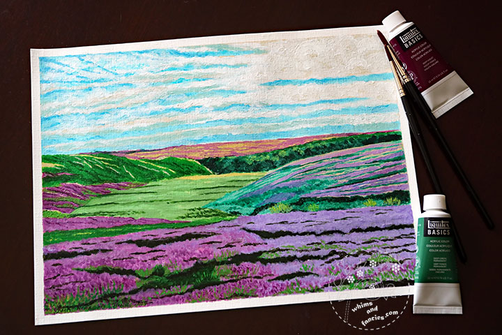 Heather In Yorkshire Moors Painting In Acrylic | Whims And Fancies