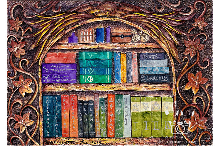 Magician's Bookshelf - Print From Original Artwork | Whims And Fancies
