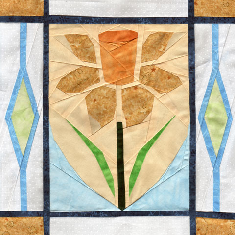 Welsh Daffodil paper piecing quilt pattern