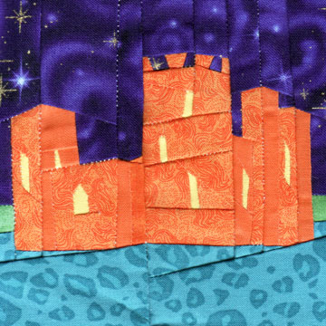 Wonky Castle Quilt Block for July