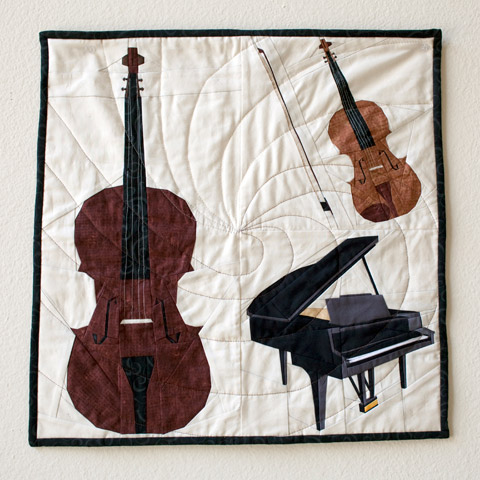 Piano Trio Music Quilt - Piano Violin Cello Quilt Pattern | Whims and Fancies