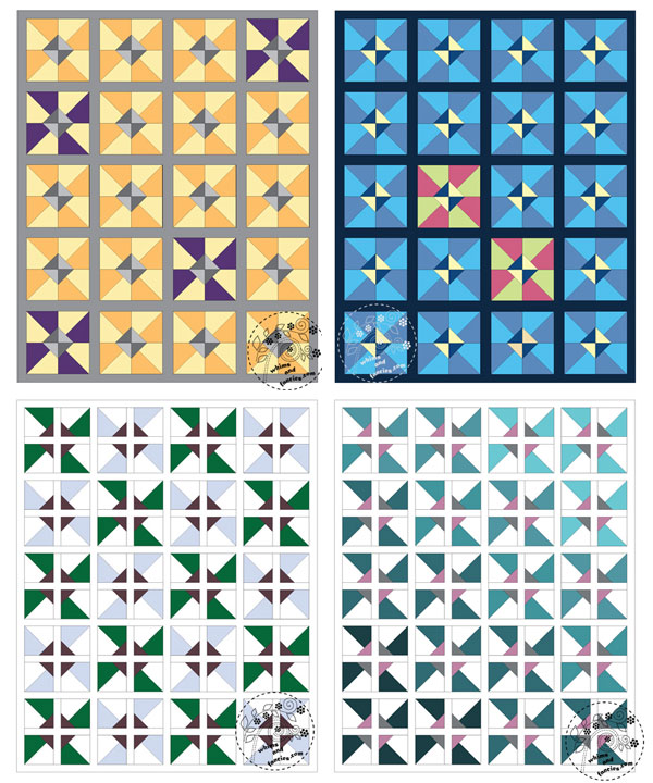 Half Square Triangle Pinwheel Paper Piecing Pattern | Whims And Fancies