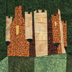 Wonky Castle / House Paper Piecing Quilt Block Pattern