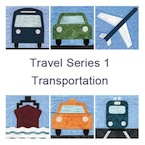 Travel Transportation - Quilt Pattern for Bus, Plane, Taxi, Cab, Car, Ship, Train