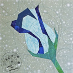 Blue Winter Rose Quilt Block Pattern