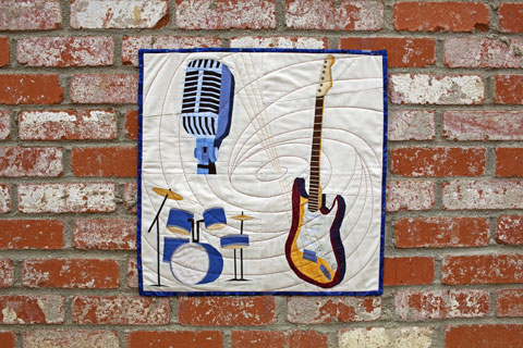 Music Quilt - Guitar, Drums, Microphone Quilt Patterns | Whims And Fancies