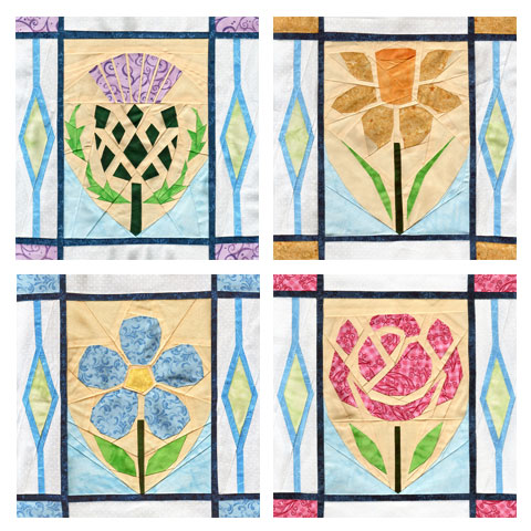 Thistle, Daffodil, Flax, Rose - Flowers Quilt Patterns