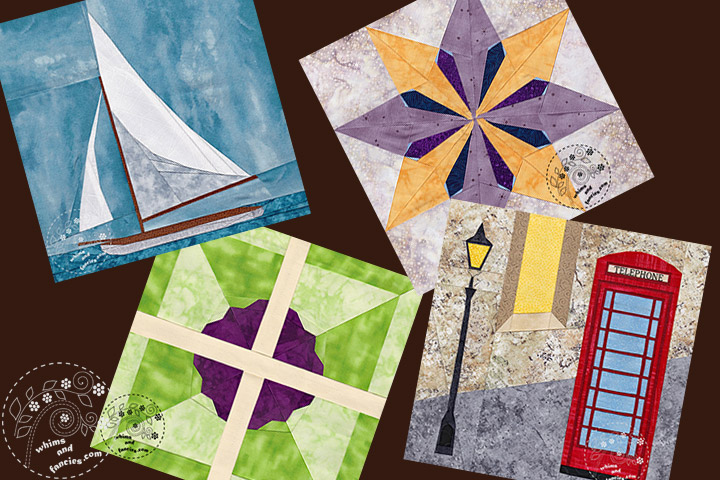 sailboat, star, flower, phone box art quilt patterns | Whims And Fancies