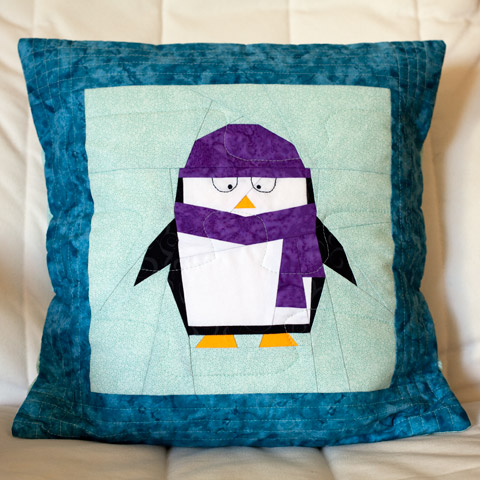 Quilted Penguin Pillow