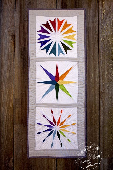 Rainbow / Color Wheel Paper Piecing Star Wall Hanging
