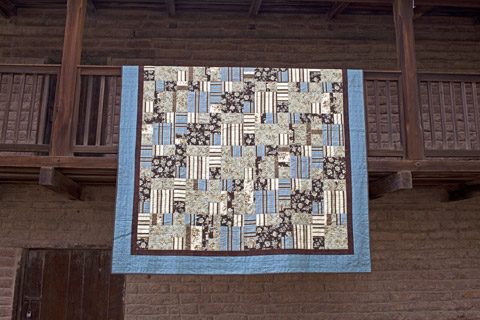 Aqua Brown With Green & Cream home machine quilt