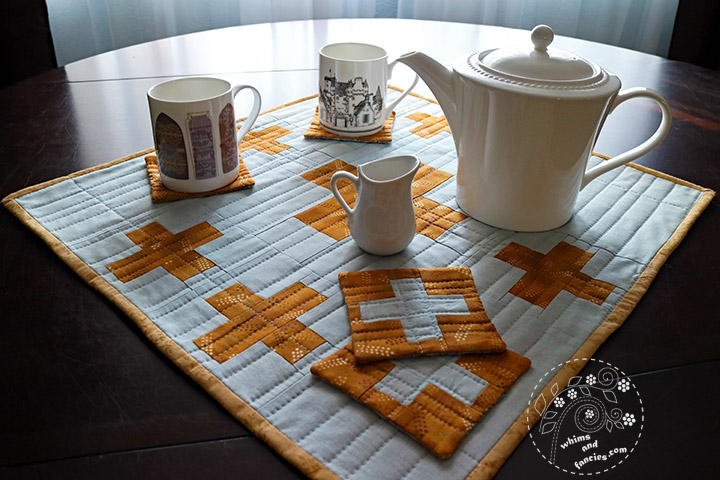 Plus Sign Quilt - Tea Mat & Coasters In Yellow & Grey | Whims And Fancies