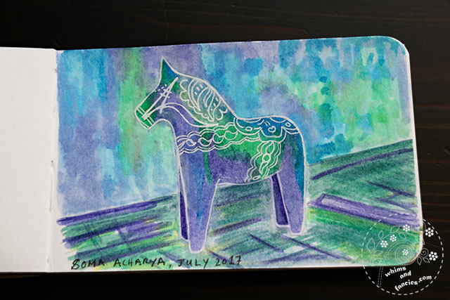 Sketchbook 2017 - Dala Horse Winsor Newton Ink Painting | Whims And Fancies