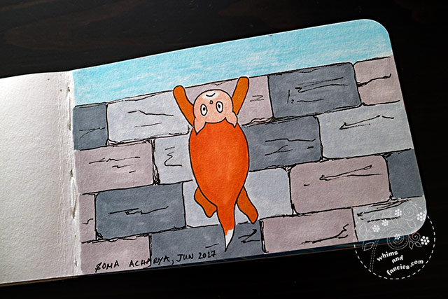 Sketchbook 2017 - Cat On The Wall Prismacolor Marker | Whims And Fancies
