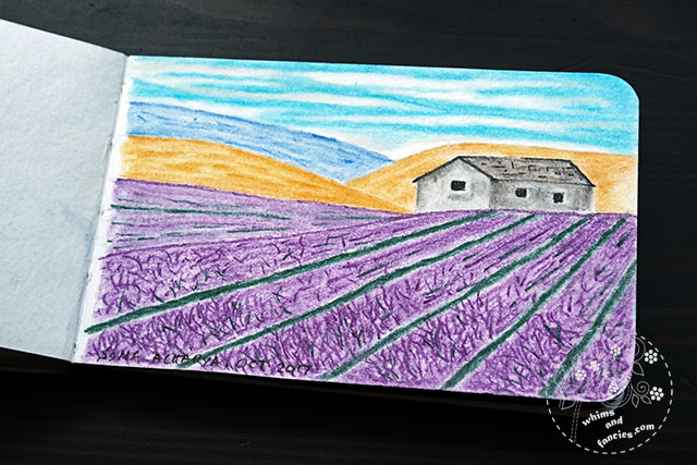 Sketchbook 2017 - Lavender Field Painting Derwent Pastel Pencils | Whims And Fancies