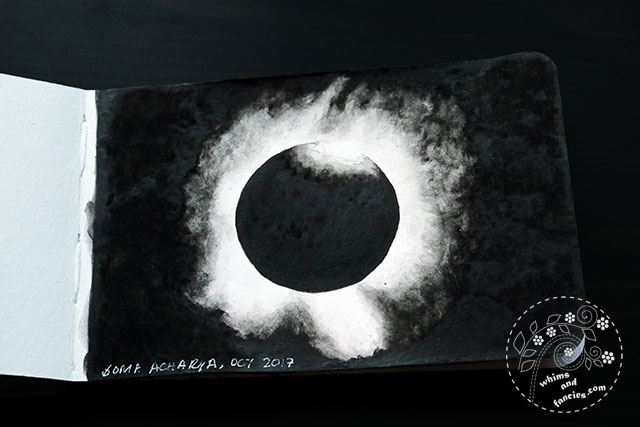 Sketchbook 2017 - Solar Eclipse Nebulosity Schmincke Horadam Ivory Black Watercolour | Whims And Fancies