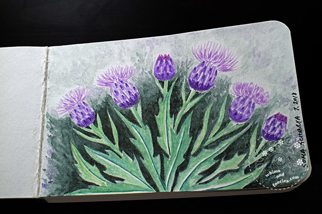 Scottish Thistle Watercolour | Whims And Fancies