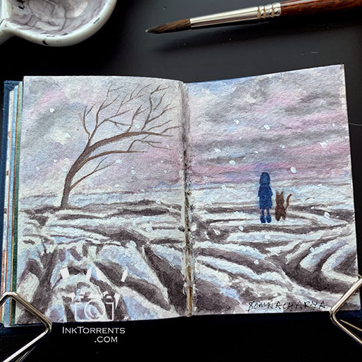 The Girl And Her Cat are at Yorkshire Cove Malham Cove loving the blustery early evening painting @ InkTorrents.com by Soma