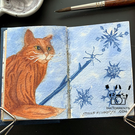 Charlie's Snowflakes - Lost Pages watercolour paintings by InkTorrents Graphics Soma Acharya - Whims And Fancies