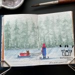 The Girl And Her Cat sledging at the frozen lake painting @ InkTorrents.com by Soma