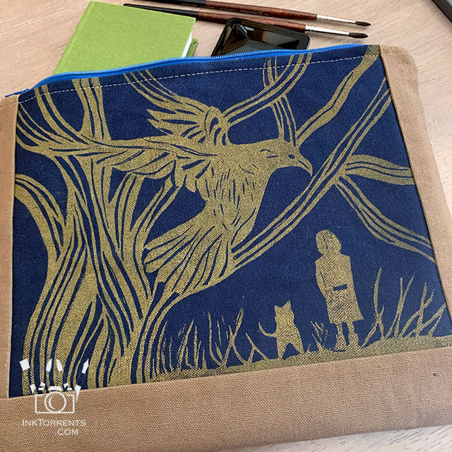 Fabric lino block printing on canvas @ inktorrents.com by Soma
